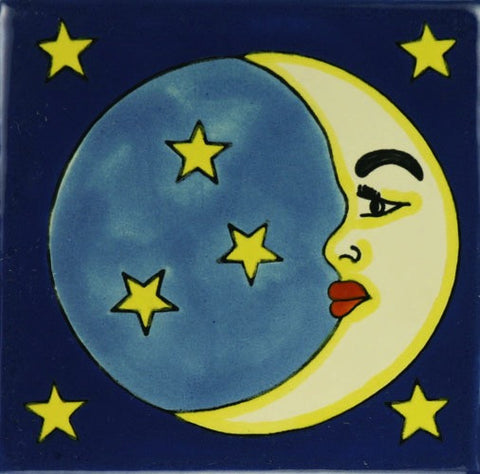 Porcelain moon and stars Mexican Tile