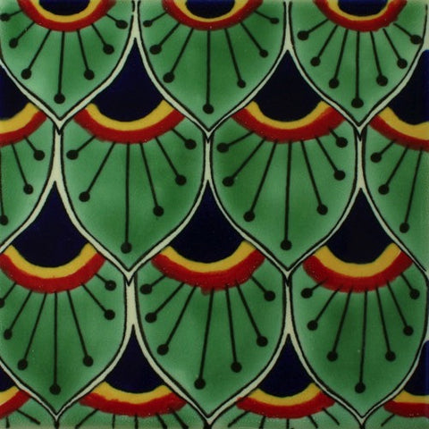 Ceramic Peacock feathers Mexican pool tile