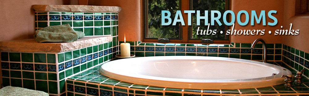 Mexican tiles, bathrooms, sinks, showers