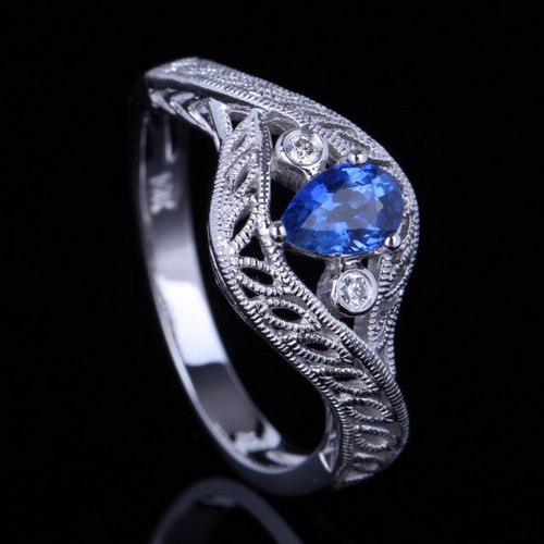 10k White Gold 4x5mm Pear Cut Genuine Natural Sapphire & Diamond Art Deco Ring