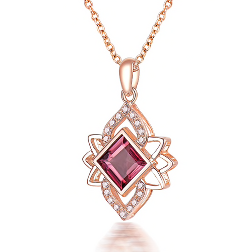 Natural Pink Tourmaline And Diamond Rose Gold Pendant Necklace