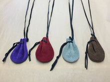 Load image into Gallery viewer, Leather Necklace Medicine Pouch Small Purple Brown Green