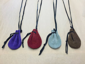 Leather Necklace Medicine Pouch Small Purple Brown Green