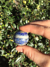 Load image into Gallery viewer, Lapis Lazuli Crystal Ball Sphere Lazurite Pyrite Calcite Rock Formation