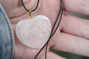 Rose Quartz Heart Shaped Pendant With Black Cord