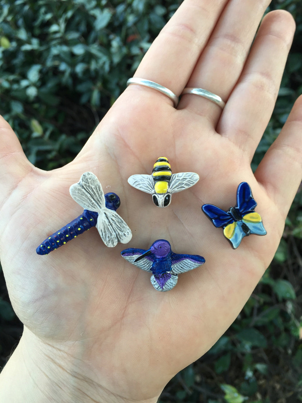 Birds and the Bees Ceramic Hand Painted Insect, Bird, Animal Beads Set of 4