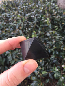 Black Shungite Carved Pyramid from Russia