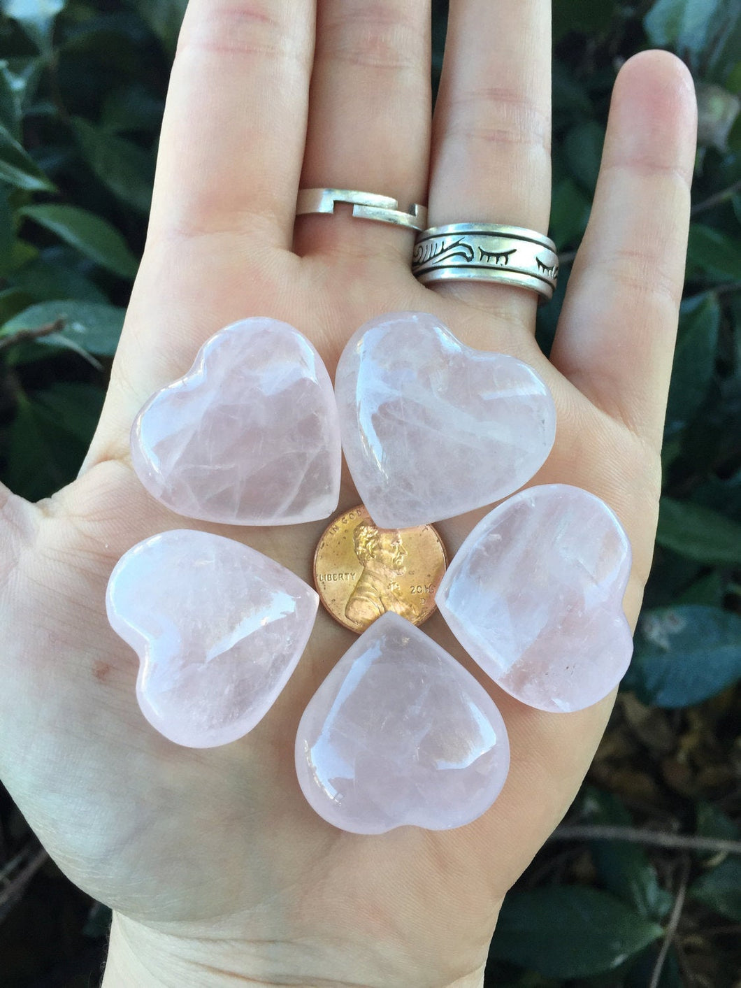 Rose Quartz Pink Love Heart Shaped Rocks set of 5 Crystal Stones