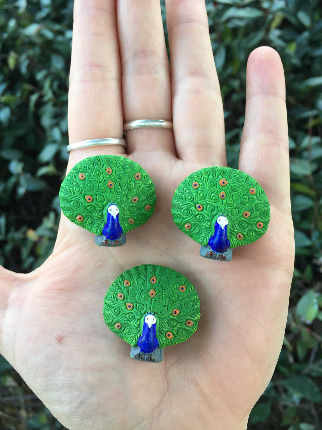 Peacock Blue Green Bird Ceramic Hand Painted Beads Set of 3