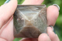 Load image into Gallery viewer, Petrified Wood Carved Shaped Pyramid Brown Purple Striated Fossilized Mineral Specimen