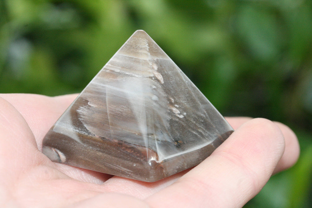 Petrified Wood Carved Shaped Pyramid Brown Purple Striated Fossilized Mineral Specimen