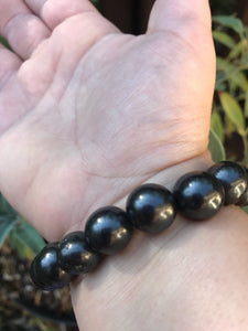 Shungite Polished Black Beaded Stretchy Bracelet from Russia