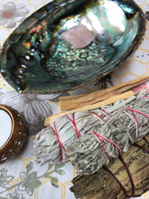 Load image into Gallery viewer, Shaman's Kit: White Sage, Palo Santo, Blue Desert Sage, Yerba Santa, Ceremonial Herb Wands, Abolone Shell, and Raw Rose Quartz