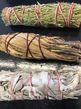 Load image into Gallery viewer, Shaman's Kit: White Sage, Palo Santo, Cedar, Yerba Santa, Ceremonial Herb Wands, Abolone Shell, Rose Qtz, Quartz, and Black Obsidian