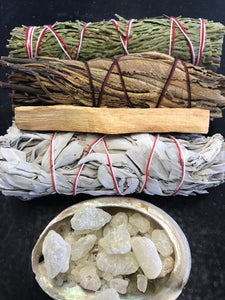 Shaman's Kit: White Sage, Palo Santo, Cedar, Yerba Santa, Ceremonial Herb Wands, Abolone Shell, Rose Qtz, Quartz, and Black Obsidian