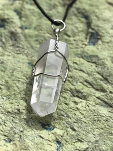 Quartz Clear Double Terminated Point Pendant with Black Cord