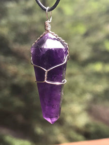 Amethyst Double Terminated Pendant Purple Crystal Charm