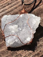 Load image into Gallery viewer, Druzy Lavender Quartz Copper Pendant with Black Cord