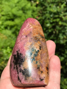 Rhodonite Pink & Black Shaped Polished Standing Stone
