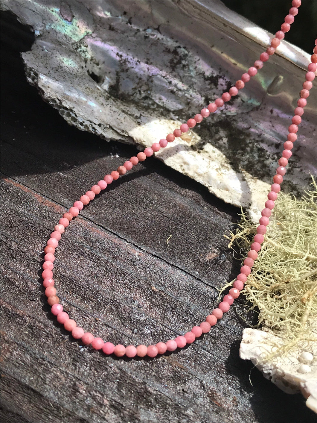 "Beaded Rhodochrosite Faceted Necklace 19"" long with Sterling Silver"