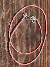 "Load image into Gallery viewer, Beaded Rhodochrosite Faceted Necklace 19"" long with Sterling Silver"