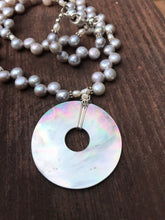 "Load image into Gallery viewer, Pearl and Abalone Shell Necklace 19"" long with Sterling Silver"