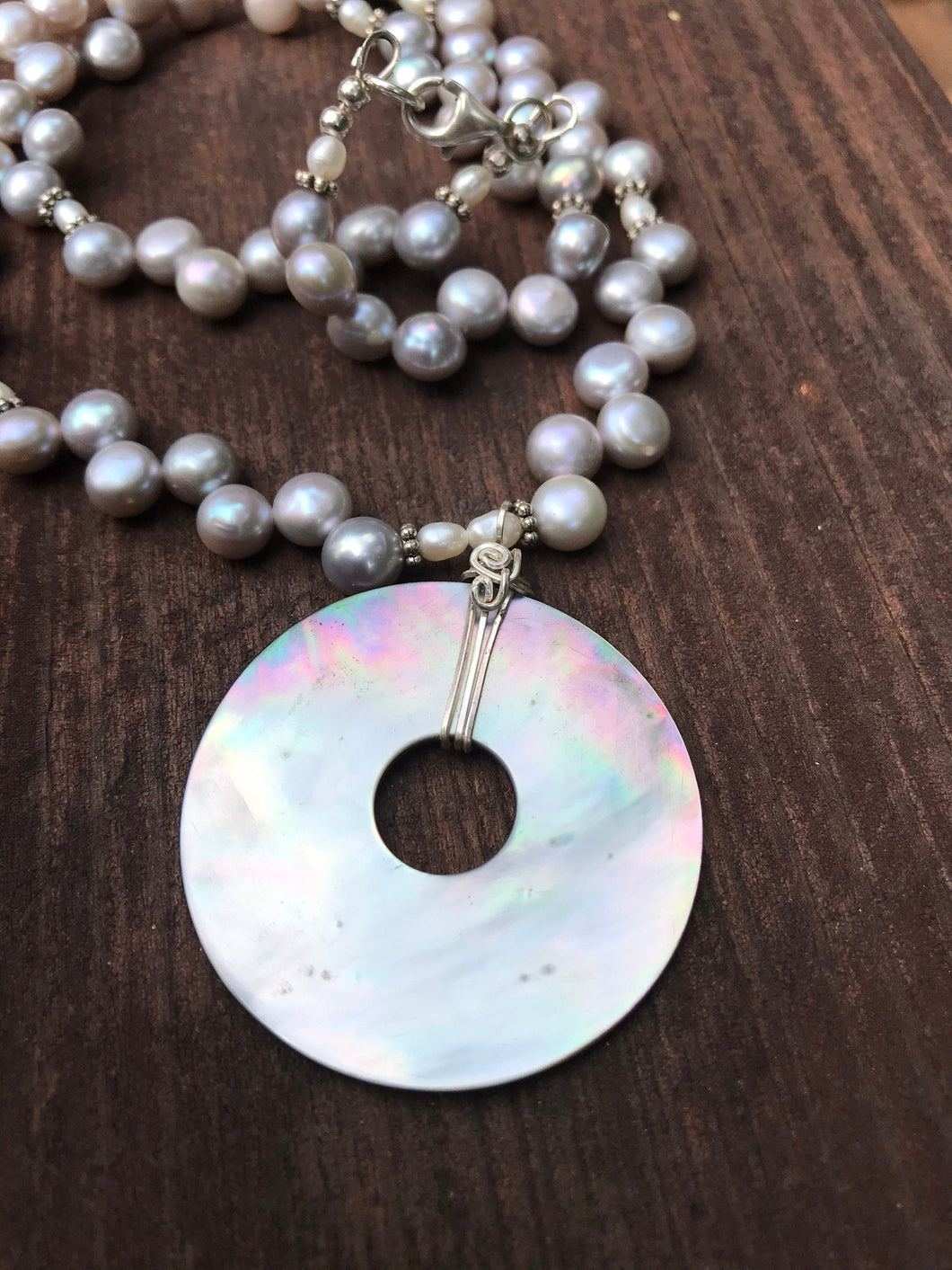 "Pearl and Abalone Shell Necklace 19"" long with Sterling Silver"