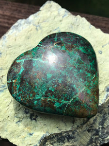 Chrysocolla Heart Polished Mineral Specimen from the Congo