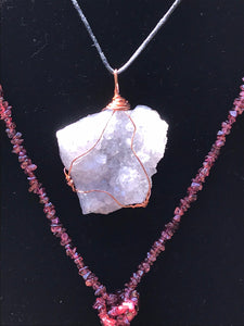 Druzy Lavender Quartz Copper Pendant with Black Cord