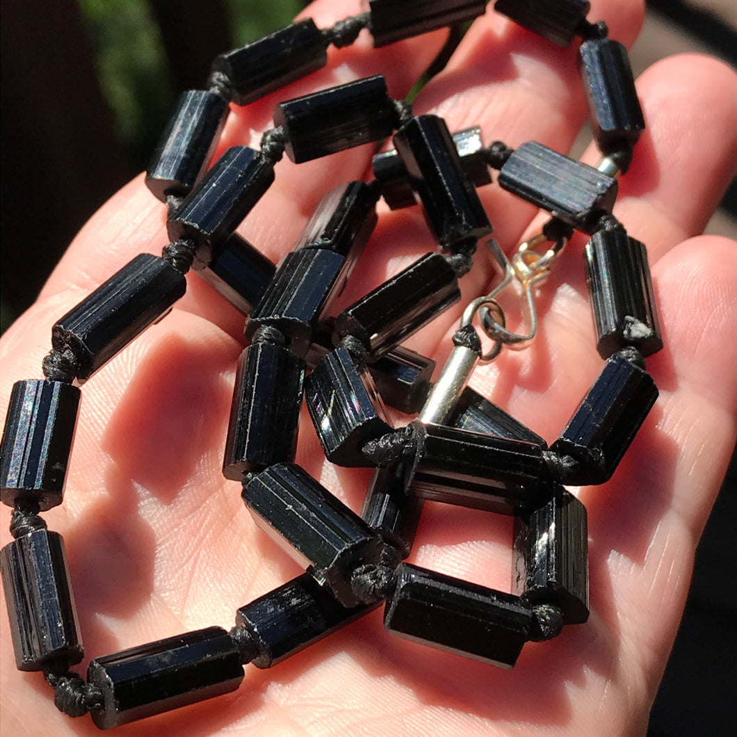 Black Tourmaline Raw Schorl Crystal Beads