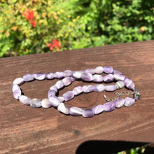 "Load image into Gallery viewer, Banded Amethyst Beaded Necklace 18"" long"