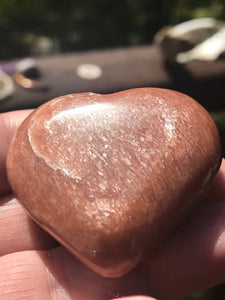 Peach Moonstone Carved Heart Tumbled