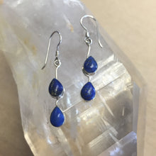 Load image into Gallery viewer, Lapis Lazuli Blue Stone Earrings set in Sterling Silver