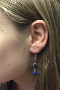 Lapis Lazuli Blue Stone Earrings set in Sterling Silver