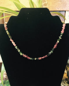 Tourmaline Green and Pink Chip Bead Necklace 17.5""