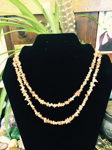 Sunstone Orange Stone Chip Bead Necklace Strand 35""