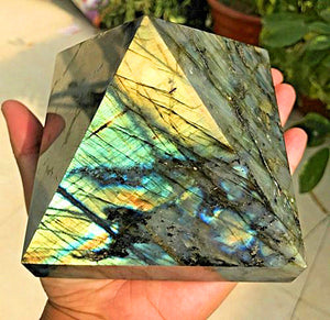 Large Natural Labradorite Gemstone Crystal Pyramid Point 3.3 - 4.4 Lb