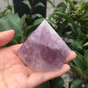 Natural Purple Amethyst Crystal Gemstone Hexagonal Pyramid