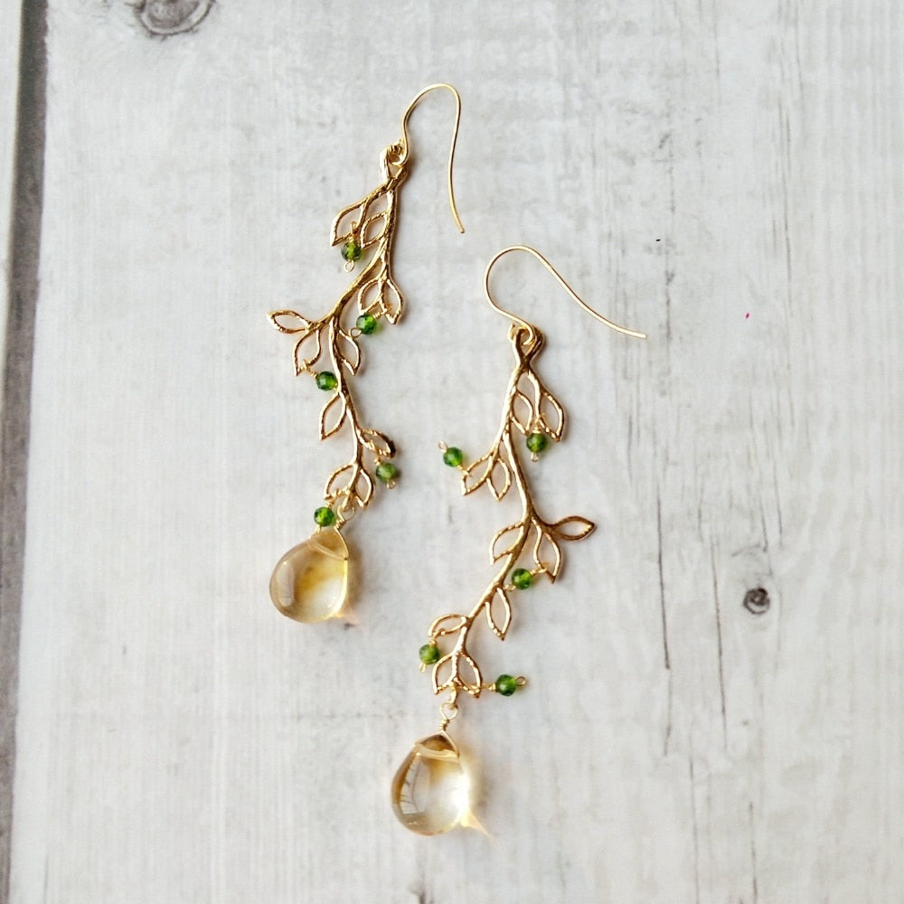 Natural Citrine And Diopside Crystal Earrings