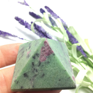 Natural Ruby Zoisite Gemstone Crystal Pyramid