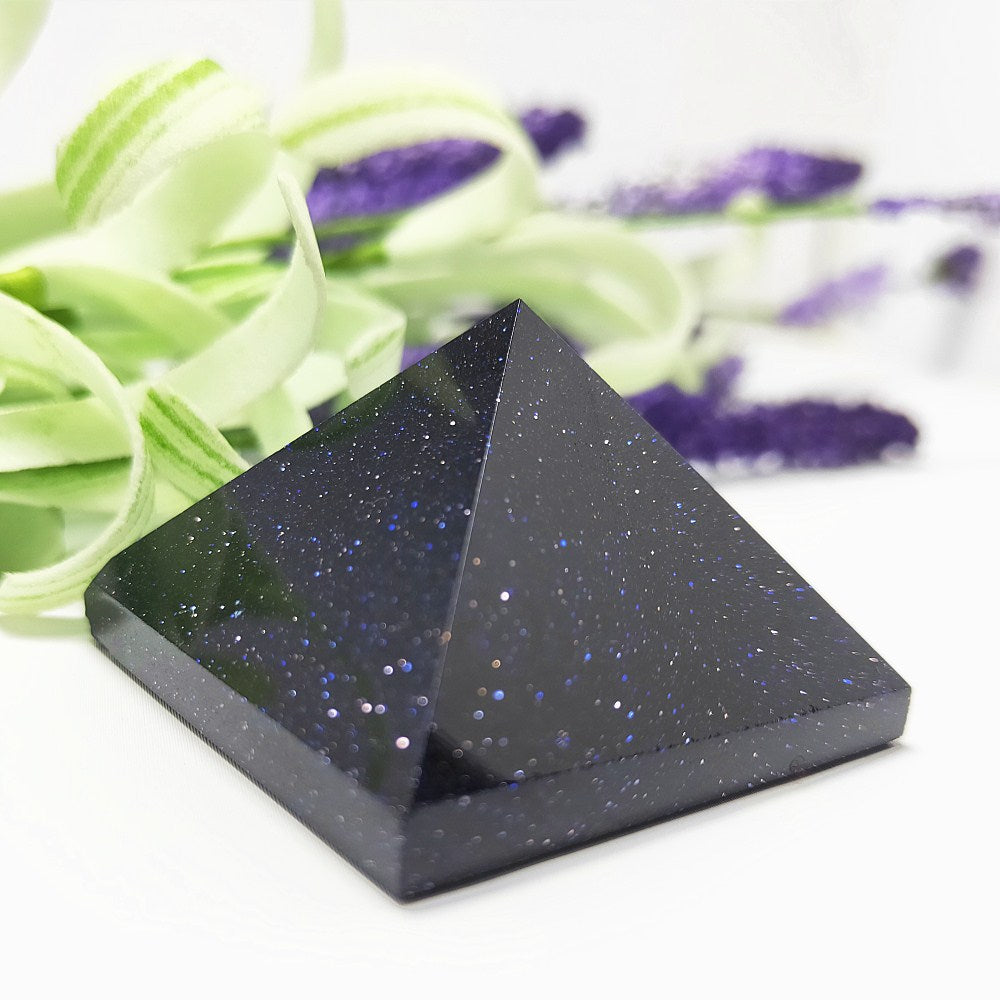 Blue Goldstone Gemstone Crystal Pyramid