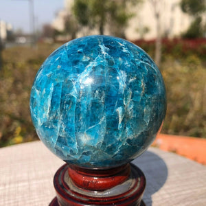 Natural Blue Apatite Crystal Sphere
