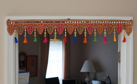 Aangan of India - Bohemian home decoration with colorful silk tassels, embroidered gypsy curtains, hippie door frame, ethnic tapestry, Indian handmade toran