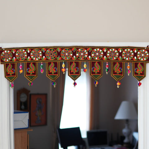 Aangan of India - Indian embroidered peacock home decor | window/door bohemian pompom decoration, Indian ethnic tapestry, mirror work gypsy hippie door frame; perfect decoration for Fall and Halloween.  Decoration for indoor and outdoor