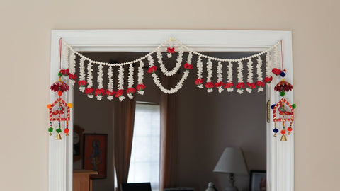 Aangan of India - Jasmine garland with Red flowers, bohemian home decor, window gypsy flower curtains, hippie door valance, ethnic tapestry, Diwali Toran, gift