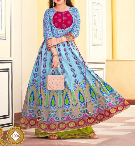 Aangan of India embordered relax fit light blue and red maxi dress for fall, bridesmaids, wedding, parties and Diwali; for Indian or American theme parties