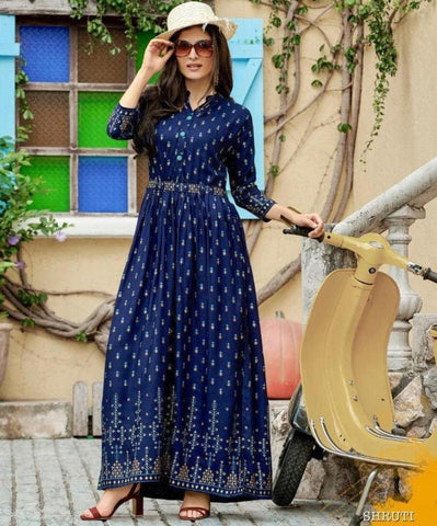 Aangan of India relax fit dark blue maxi dress for fall, bridesmaids, wedding, parties and Diwali; for Indian or American theme parties