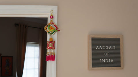 Aangan of India - Hand-painted wooden parrot hanging with silk tassels and pearl beads |Hippie door knob hanging, boho window/door/wall frame decoration; Diwali, Fall, Halloween and Day of the Dead (Dia de los muertos) door, window, and home decoration