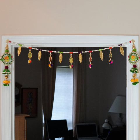 Aangan of India - long Diwali kalash toran with gold leaves | Indian door bandhanwar, Diwali gift, Auspicious door decoration & gift, bohemian door décor; perfect for halloween and Fall theme wedding decoration.  Parrot hanging for door, window, photo frame, and baby crib decor