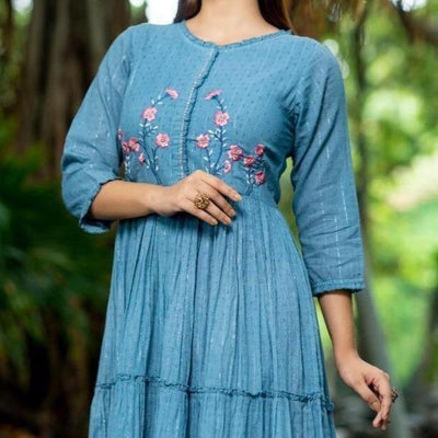 Blue cotton tie-dye long dress with embroidered front neck - Aangan of India